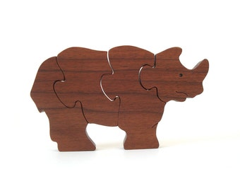 Wooden Rhinoceros Puzzle Waldorf Wood Toy African Animal Puzzle Childrens Beginner Wood Rhino Puzzle Walnut