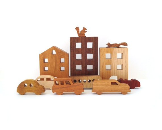 City Toy Set Waldorf Wooden Miniature 11 Pieces Buildings Cars Wood Urban Streetscape