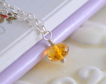 Simple Citrine Necklace, Child Children Girl, Genuine Gemstone, Golden Yellow, November Birthstone, Sterling Silver Jewelry