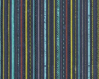 Garden Project - Stitched Stripe in Blueberry by Tim & Beck for Moda Fabrics