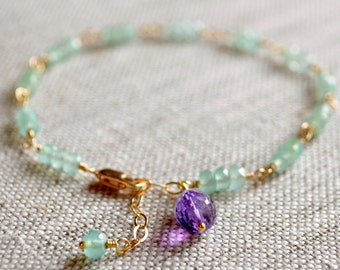 Chalcedony Gemstone Aqua Bracelet, Semiprecious Stone, Purple Amethyst, Mint Green, Gold Filled Jewelry, Free Shipping