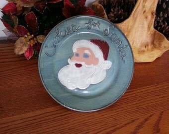 Cookies for Santa Plate for Country Style Christmas Eve Handmade Pottery Green