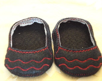 """18"""" Doll Shoes - Black and Red  Ruffle Toe Slip Ons"""