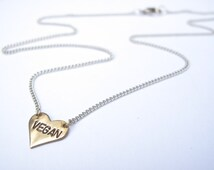 Vegan Necklace // 14kt Gold Chain Heart Necklace // Animal Rights // No Cages // Heart Jewelry // Activist Jewelry // Freedom for ALL