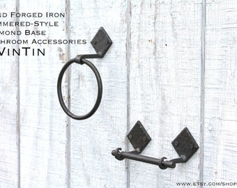 DISCOUNT 2 Piece Hand Forged Iron Hammered-Style Diamond Base Bathroom Accessories by VinTin (Item # D-1103)