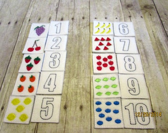 Felt & Foam Numbers Memory Game, Matching Game, Learning Tool, Educational, Numbers, Learning center, Birthday, Holiday Gift, Teacher Gift