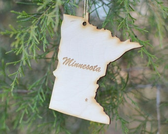Natural Wood Minnesota State Ornament