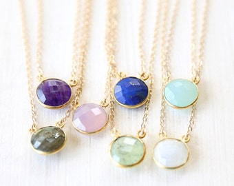 Luxurious Custom Round Gemstone Connector Necklace // 14K Gold Filled Chain // Simple everyday layering jewelry // Bridesmaids Jewelry Set