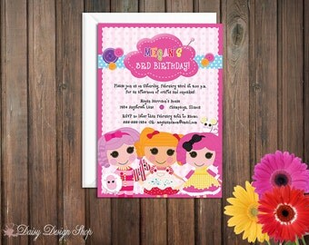 Birthday Party Invitations - Lalaloopsy Rag Doll Inspired - Set of 20 with Envelopes