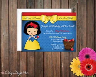 Birthday Party Invitations - Princess Snow White and Apples - Set of 20 with Envelopes