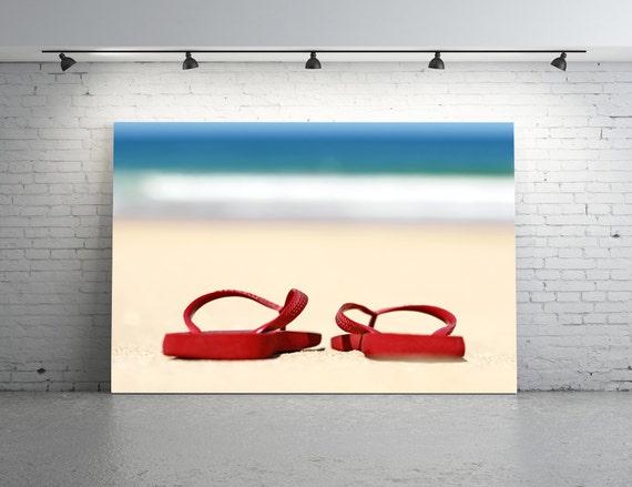 Flip Flop Photo, Red Flip Flops, Beach Photography, HAVAIANA Thongs, Red Thongs, Flip Flops on the Beach, Rubber Beach Footwear Photo