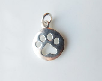 Sterling silver round charm with dog paw cutout, dog paw charm, (11x14mm)