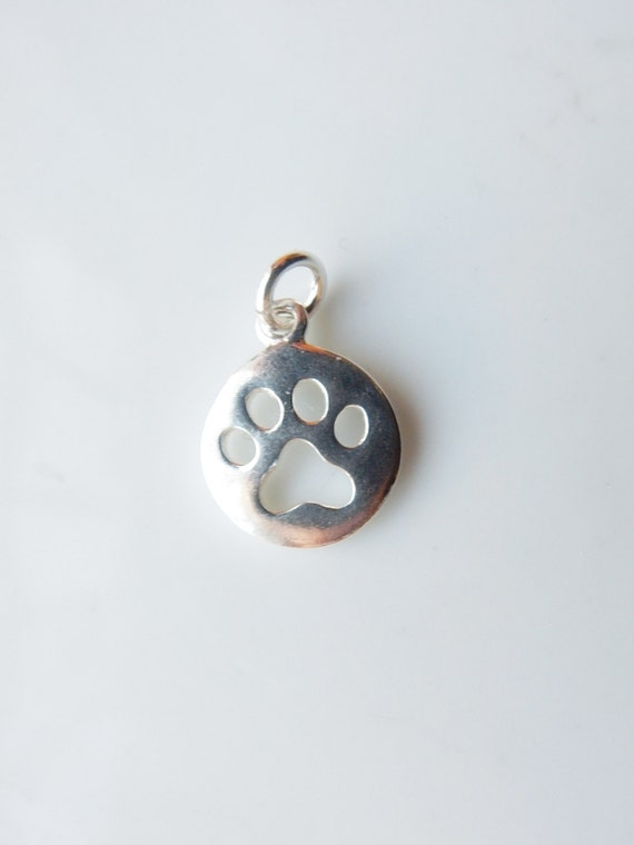 Silver Paw Cavachons: Sterling Silver Round Charm With Dog Paw Cutout Dog Paw