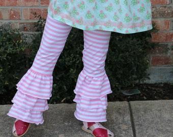 pink and white stripe triple ruffle leggings sizes 12m - 12 girls