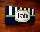personalized custom canvas to match your child's decor- striped nursery art- boy - navy green