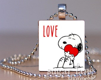 Love Snoopy Necklace - (IH3 - Love, Valentines Day) - Scrabble Tile Pendant with Chain