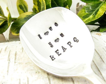 Love You HEAPS. Hand Stamped Sugar Spoon. Sweetheart Gift. Gift for Her. Gift for Him. Vintage Silverware by Dazzling Dezignz. 330SP