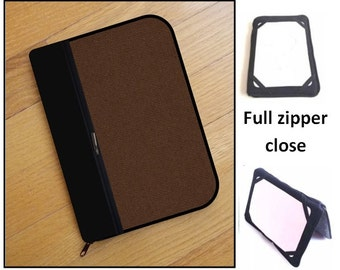 personalized HARD case - ipad case/ kindle case/ nook case/ samsung case/ others - full zipper close - rough brown