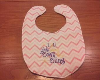 LSU Girls Wear Bows & Bling Embroidery Handmade Baby Bib On Pink Chevron