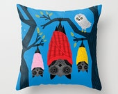 The Halloween series  Bats in Blankets  Dark Blue Throw Pillow  Cushion Cover (16 x 16) by Oliver Lake