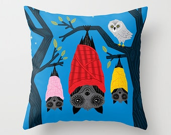"The Halloween series - Bats in Blankets - Dark Blue Throw Pillow / Cushion Cover (16"" x 16"") by Oliver Lake iOTA iLLUSTRATiON"