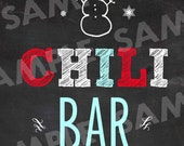 WINTER ONEDERLAND Chalkboard Birthday Party Sign CHILI Bar with Snowman and snowflakes Instant Download