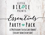 Party Printables Pack ESSENTIAL PARTY PACK To match any theme Includes Invitation