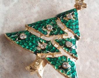 Christmas Tree Brooch Pin Green Enamel Crystal Rhinestone Gold Tone Vintage 101514MU