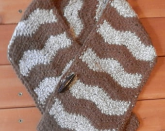 Alpaca Neck Scarf - Brown with Light Fawn & White Tweed (#073)