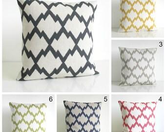 Ikat Pillow Sham, Pillow Cover, Ikat cushion Cover, Ikat Pillow, Accent Pillow, Linen Cotton Pillows - Ikat Trellis