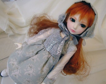 Dress Set for BJD 1/4 MSD with Bonnet and Petticoat