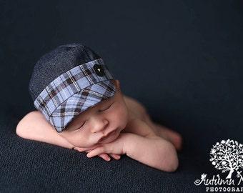 newborn BOY fabric hat (Elijah) - photography prop - blue, white, denim, plaid, red, black