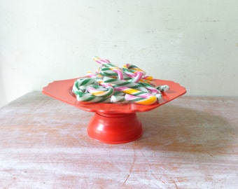 VIntage Plastic Pedestal Stand in Red - Christmas Decor