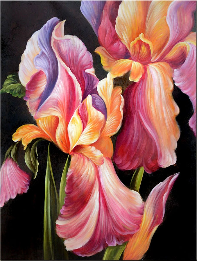 original oil painting love attraction 40 x 30 iris floral. Black Bedroom Furniture Sets. Home Design Ideas