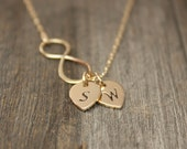 Infinity Necklace - Personalized Jewelry.  Monogram Initial Gift for Couples, Mr. Mrs., His Hers. Bronze , Gold-Dipped & Sterling Silver