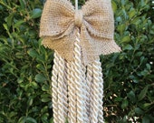 burlap ornament key/armoire tassel 9 inches top to bottom