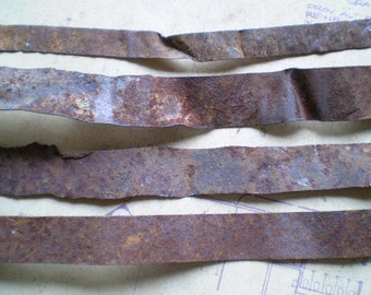 4 Long Rusty Metal Strips - Salvaged Supplies - Found Objects for Assemblage, Sculpture or Altered Art - Industrial Salvage