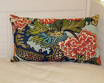 Schumacher Chiang Mai Dragon in Aquamarine (Both Sides) Designer Pillow Cover - with Dragon Feature