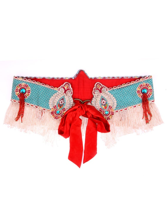 India Trim Fusion Belly Dance Belt with beaded fringe