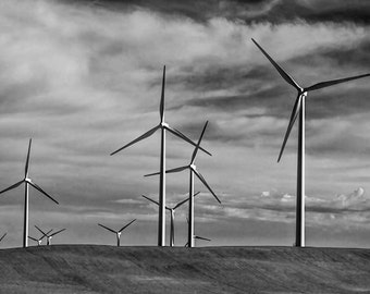 Alberta Turbine Windmills against a Cloudy Canadian Sky No.1971 A Black and White Fine Art Windmill Landscape Photograph