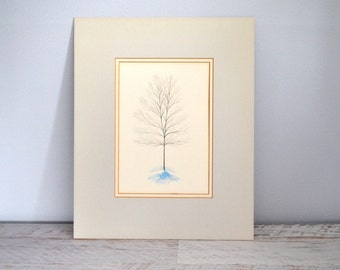 Vintage Watercolor Print, Winter Tree Art, Charcoal Gray, Blue, Grant Dolge, Matted 13 x 16, Rochester NY Artist