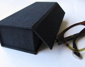 Spectacles hard case - black linen with orange felt lining