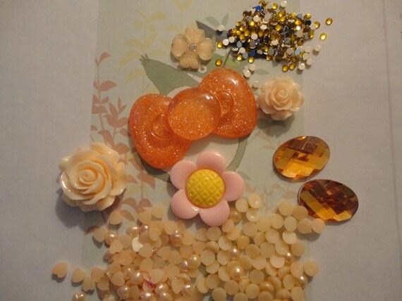 Kawaii decoden deco diy orange bow cabochon charm kit   # 37--- USA seller