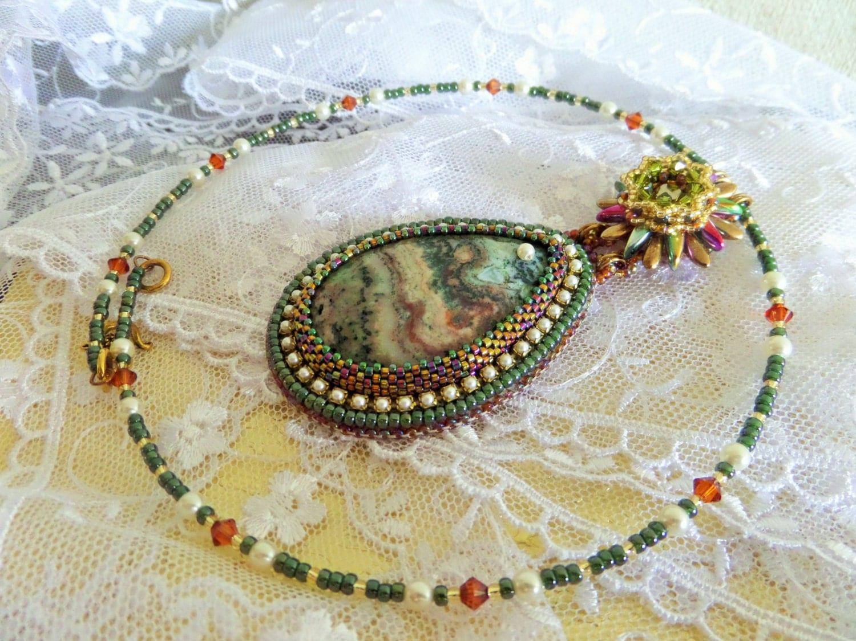bead embroidered green bronze agate cabochon swarovski