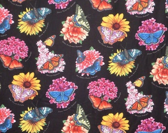 SPECIAL--Colorful Butterfly Garden Print Pure Cotton Fabric--One Yard