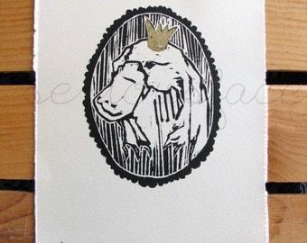 The Platypus Controlling Us - Original Art - Hand Pressed Linoleum Cut Art Print