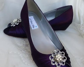 Wedding Shoes Eggplant Purple Wedge Shoes Purple Bridal Wedges with Pearl and Crystal Flower Brooch - Pick FROM OVER 100 COLORS