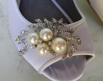 Wedding Shoes Bridal Flats Ivory Ballet Flats or White Bridal Ballet Flats with Peep Toe Brooch Shoes