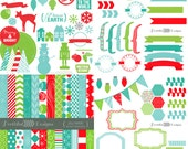 Christmas Digital Scrapbook Kit Clip Art Christmas Cards Invitations Paper Goods Jolly