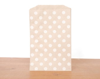 goody bags treat bags: 10 kraft gift bags, white polka dots, favor bags